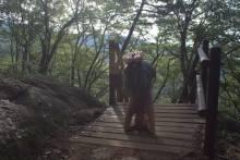 Headstand photo op during a hike on Namhae Island, Korea.